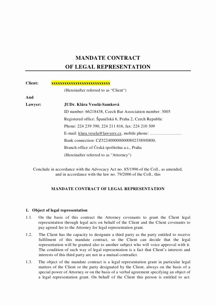 Mandate Contract Legal Representation Client and Lawyer