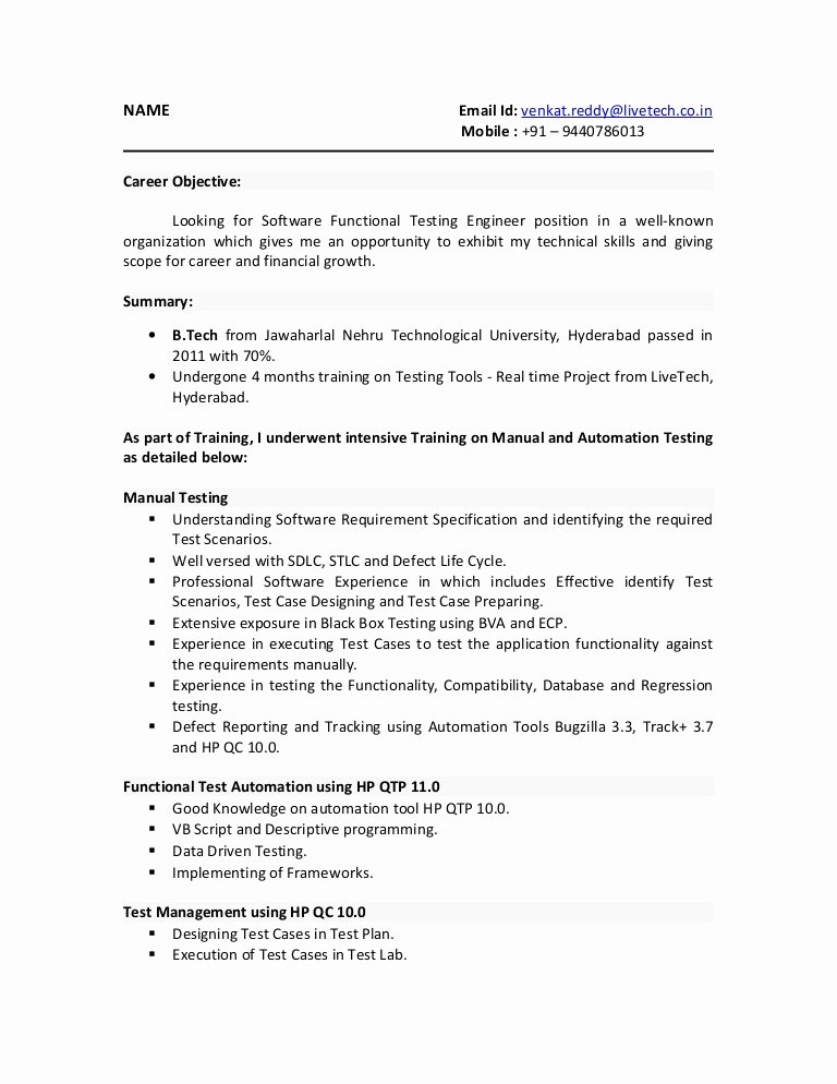 Entry Level Qa Tester Resume Free Resume Templates
