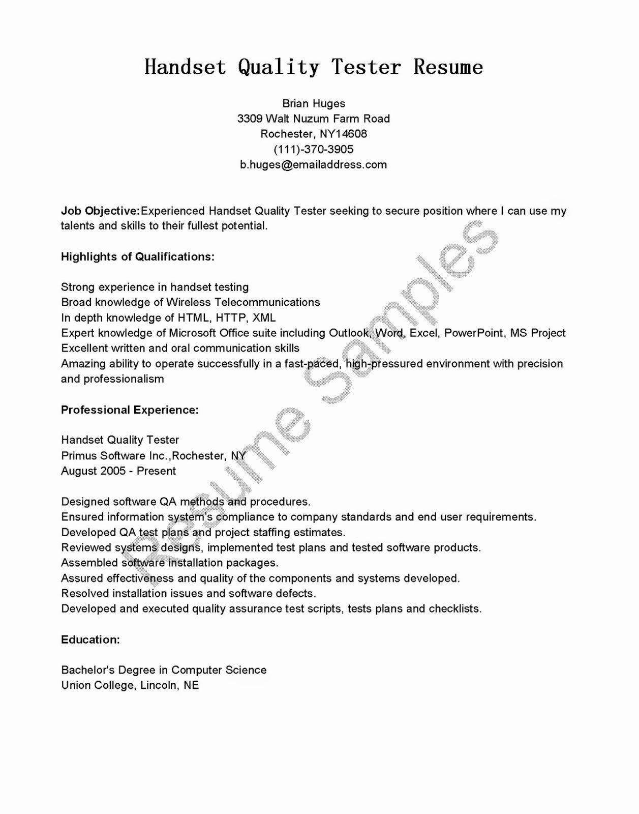 Manual Qa Tester Resume Sample