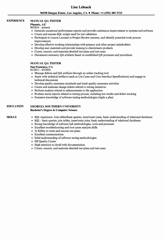 Manual Qa Tester Resume Samples