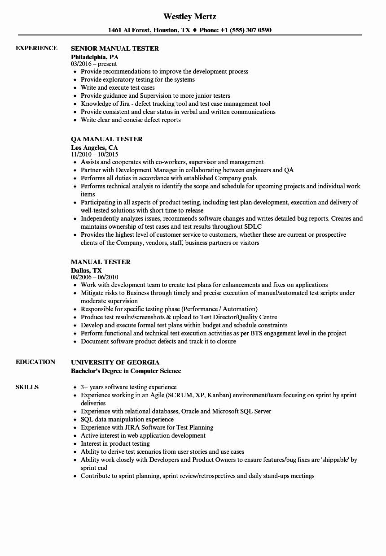Manual Tester Resume Samples