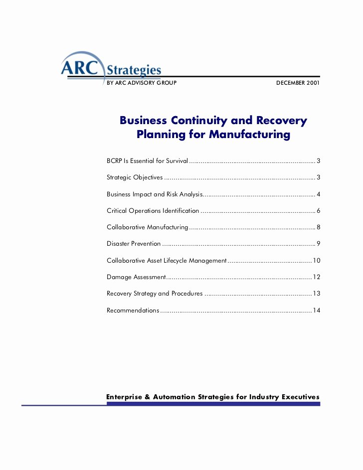 Manufacturing Contingency Plan