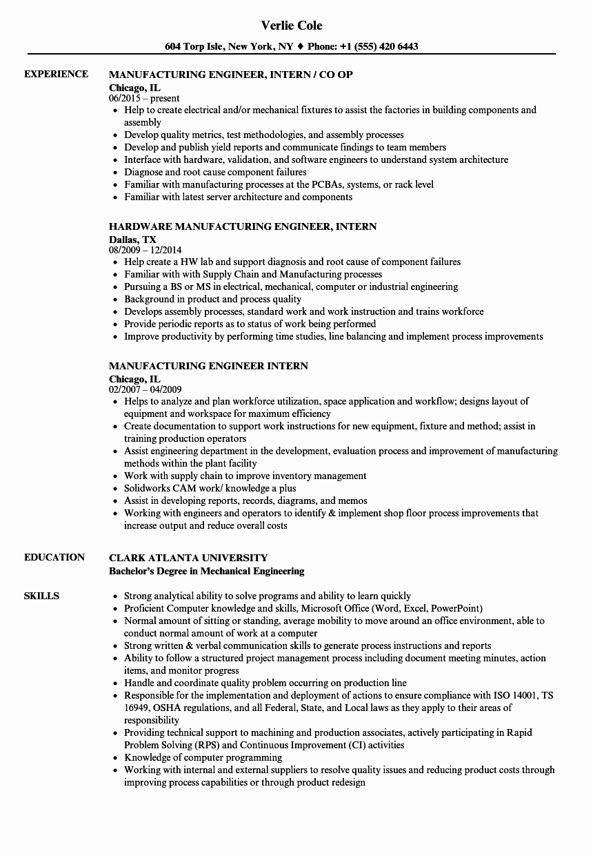 Manufacturing Engineer Intern Resume Samples