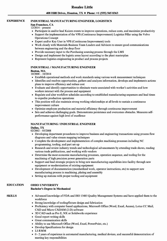 manufacturing industrial engineer resume sample