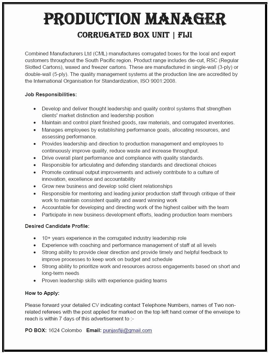 Manufacturing Project Manager Resume Example Floor Manager