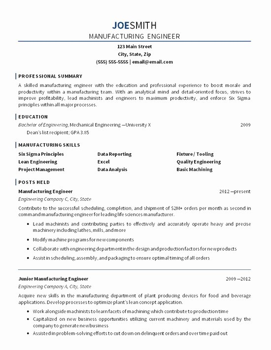 Manufacturing Resume Examples Best Resume Collection
