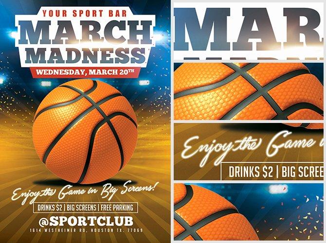 March Madness Basketball Flyer Template Flyerheroes