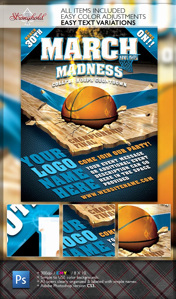 March Madness Basketball Flyer Template On Behance