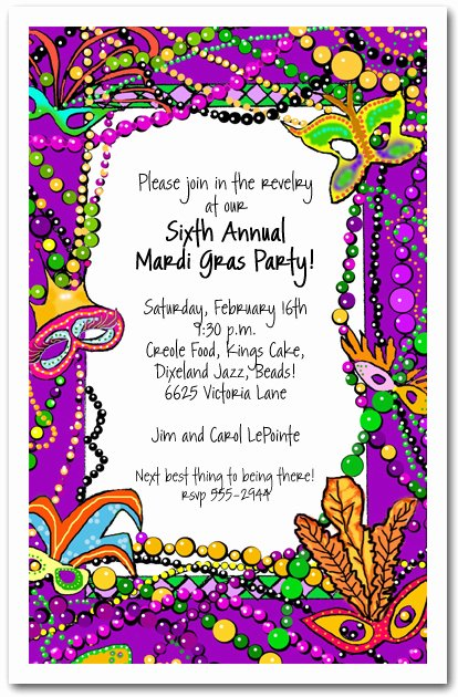 Mardi Gras Fun Party Invitation Mardi Gras Invitations