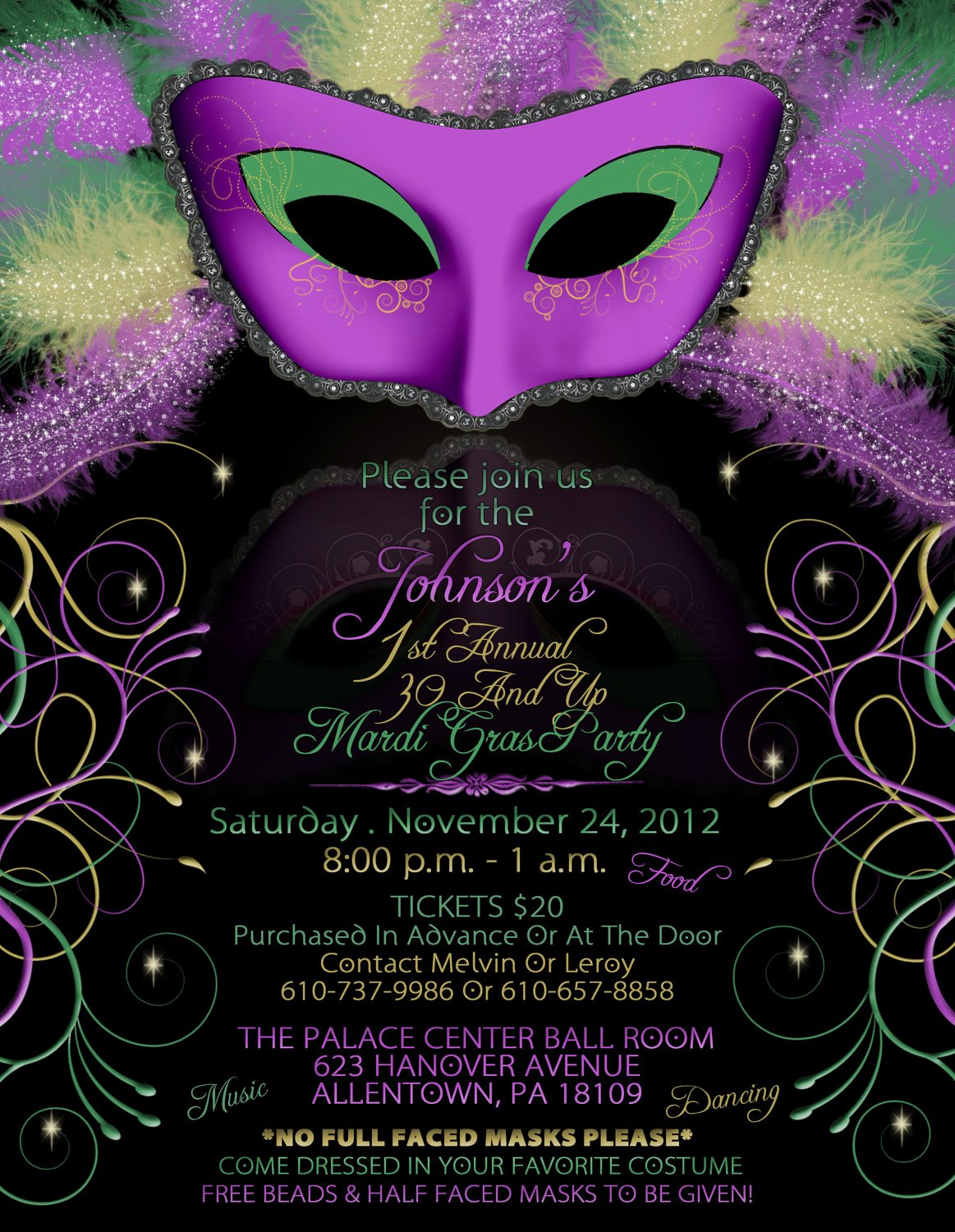 Mardi Gras Party Invitations Mardi Gras Party Invitations
