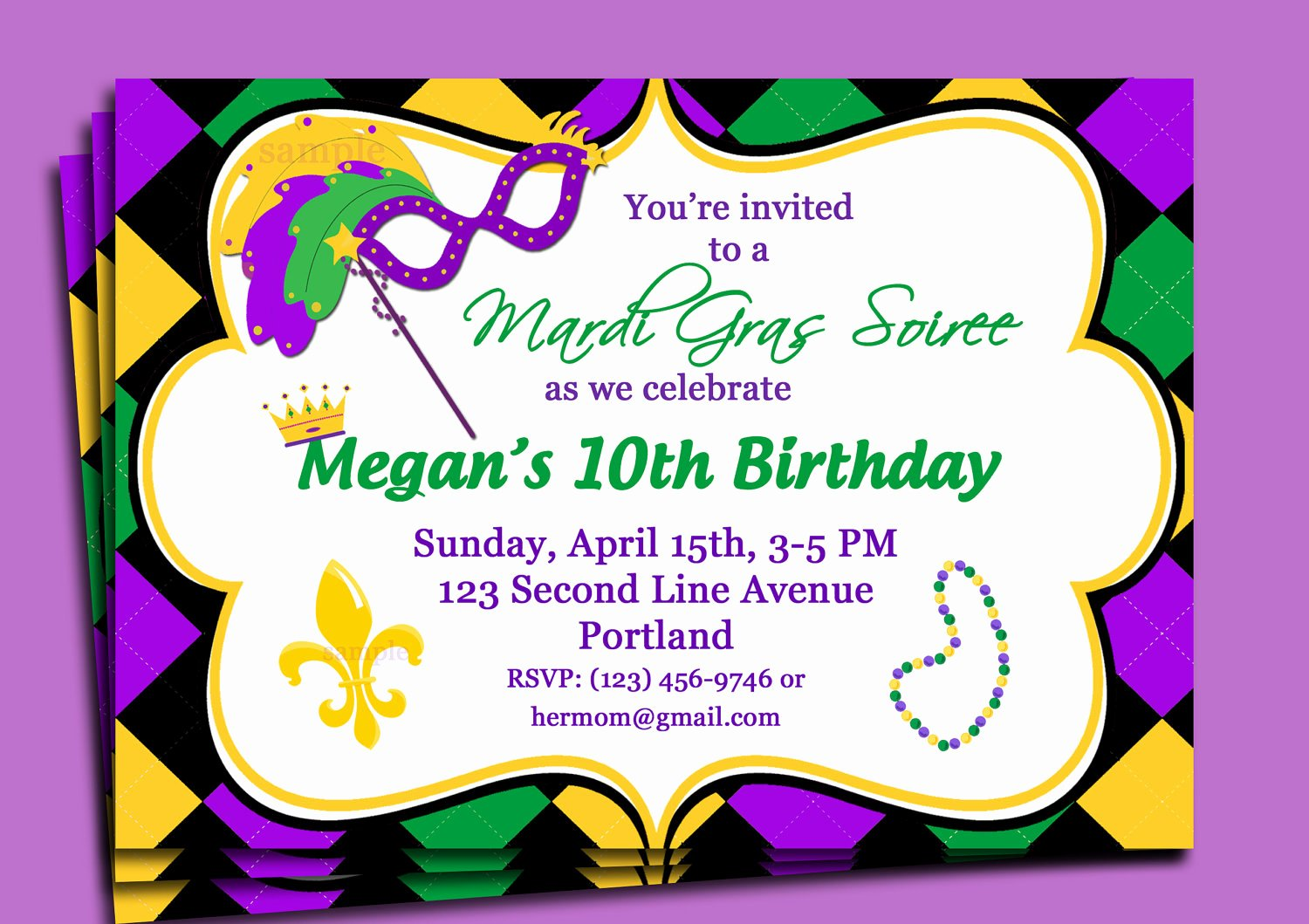 Mardi Gras Party Invitations Template
