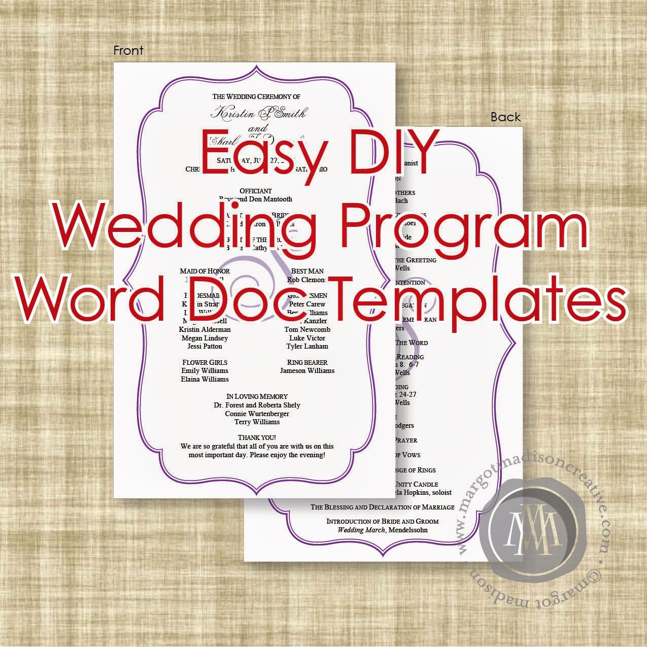 Margotmadison Diy Wedding Program Word Doc Templates now