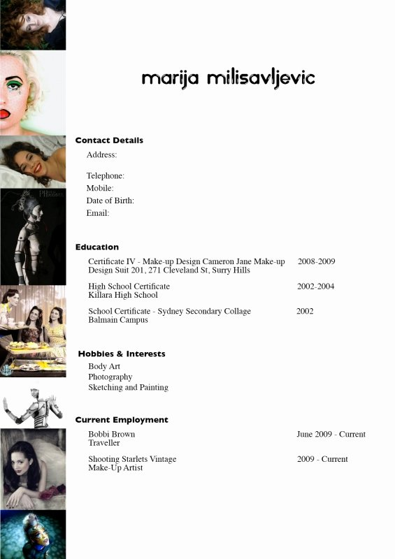Marija Make Up Artist Resume Naomi Cole Portfolio the Loop