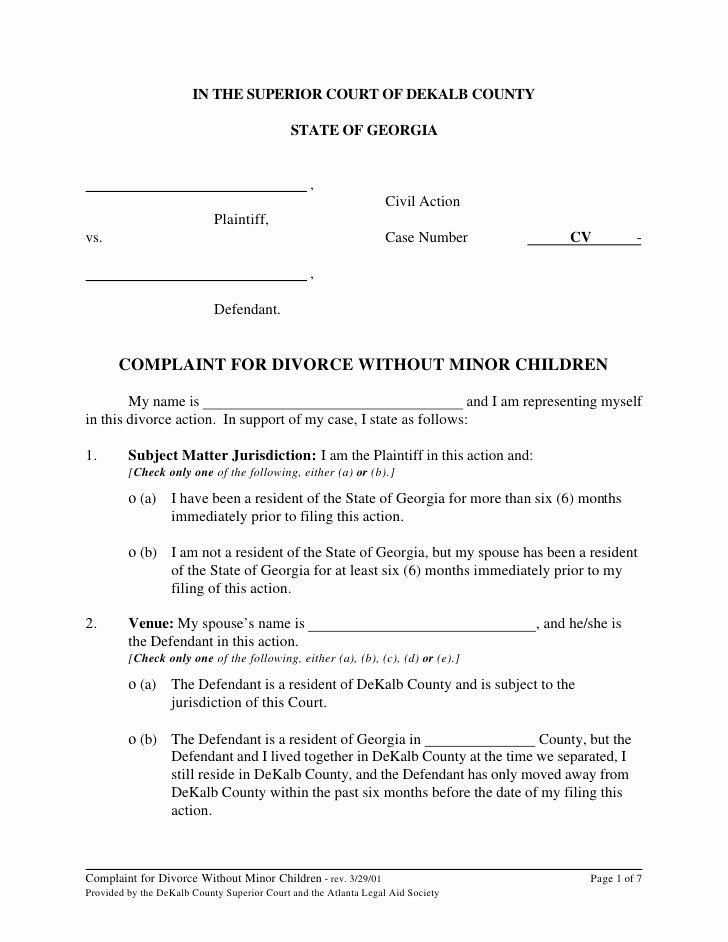 Marital Settlement Agreement Template Georgia Templates