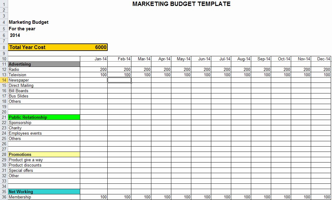 Marketing Bud Template In Excel