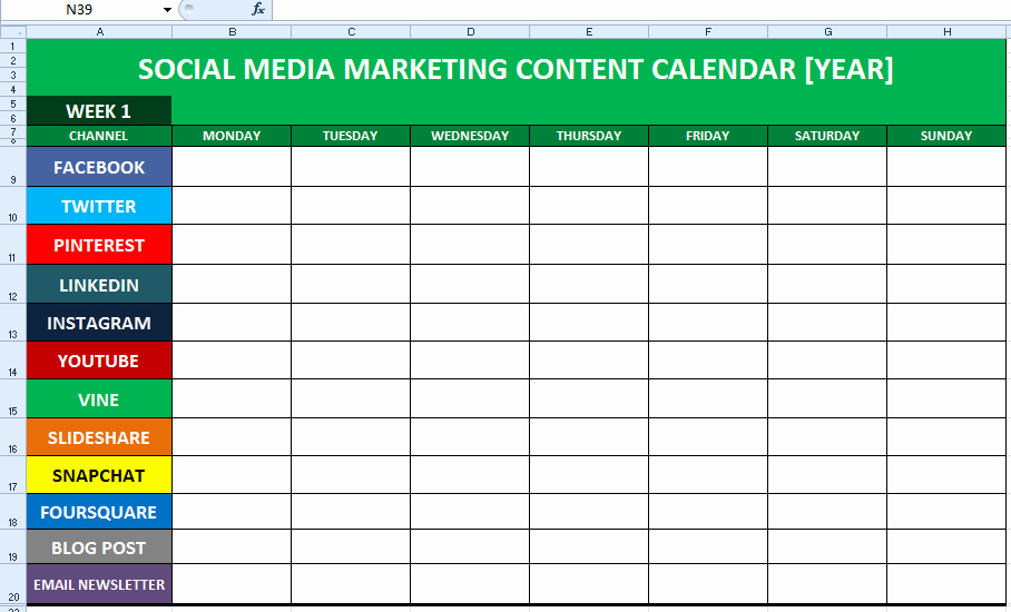 Marketing Calendar Excel