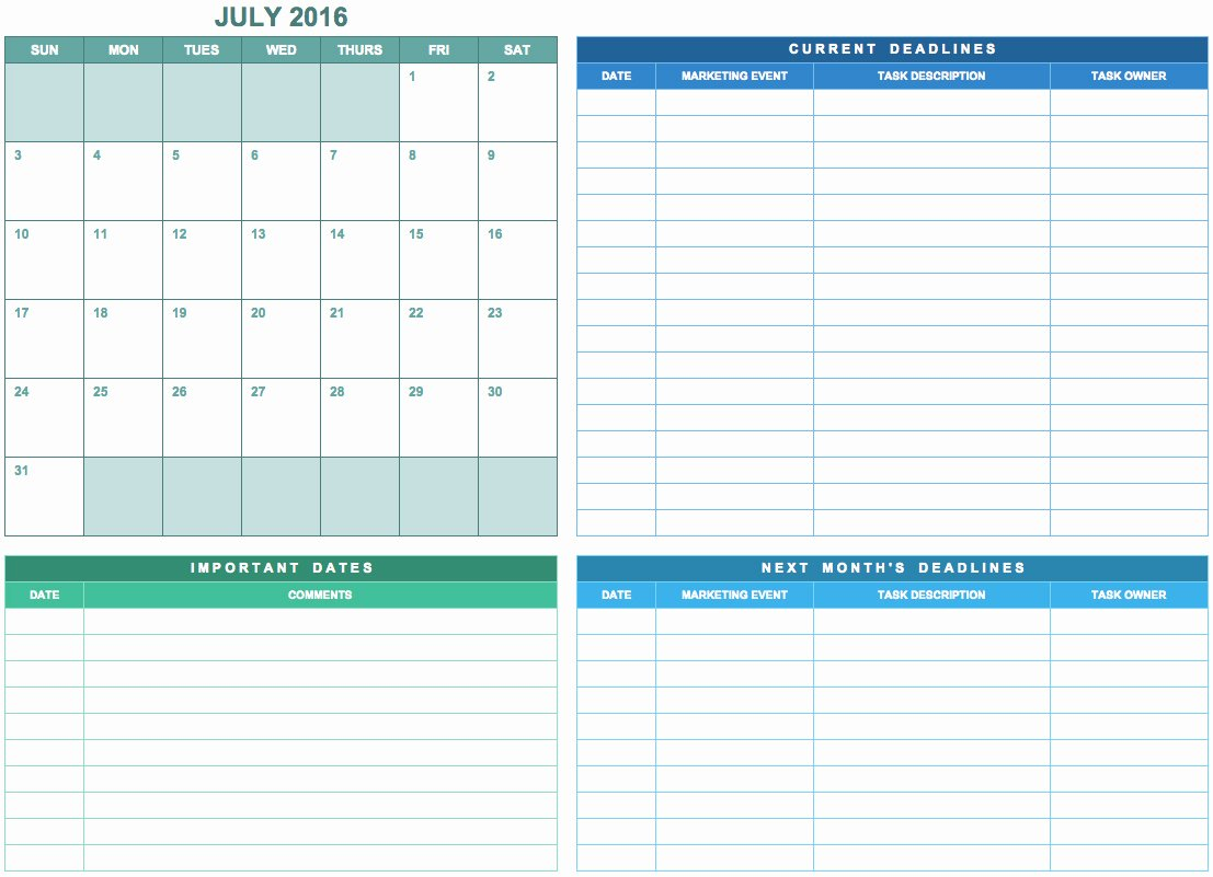 Marketing Calendar Excel Template