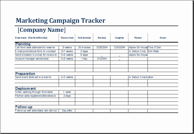 Marketing Campaign Tracker Template Ms Excel