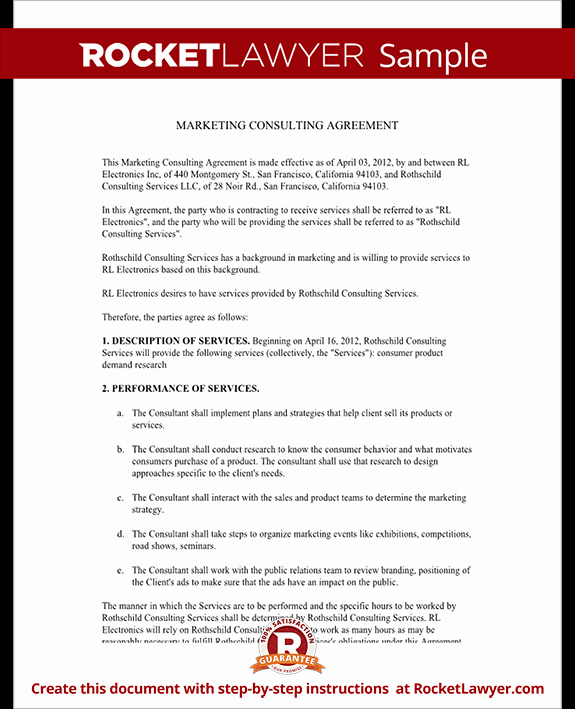 Marketing Consulting Agreement Free Template with Sample