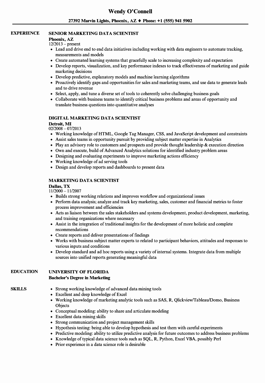 marketing data scientist resume sample