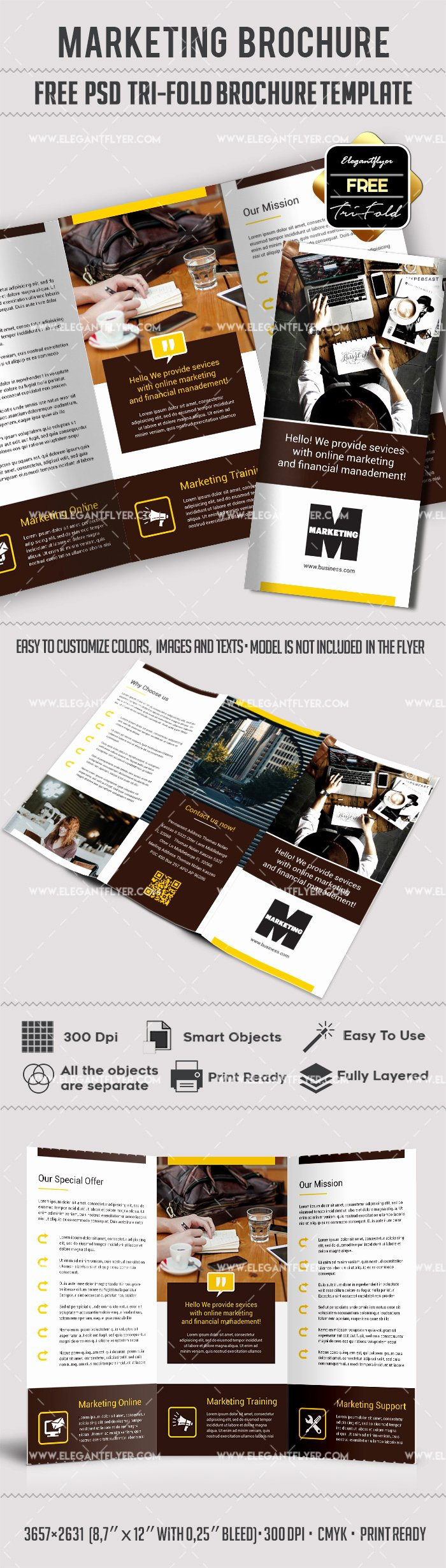 Marketing – Free Tri Fold Psd Brochure Template – by