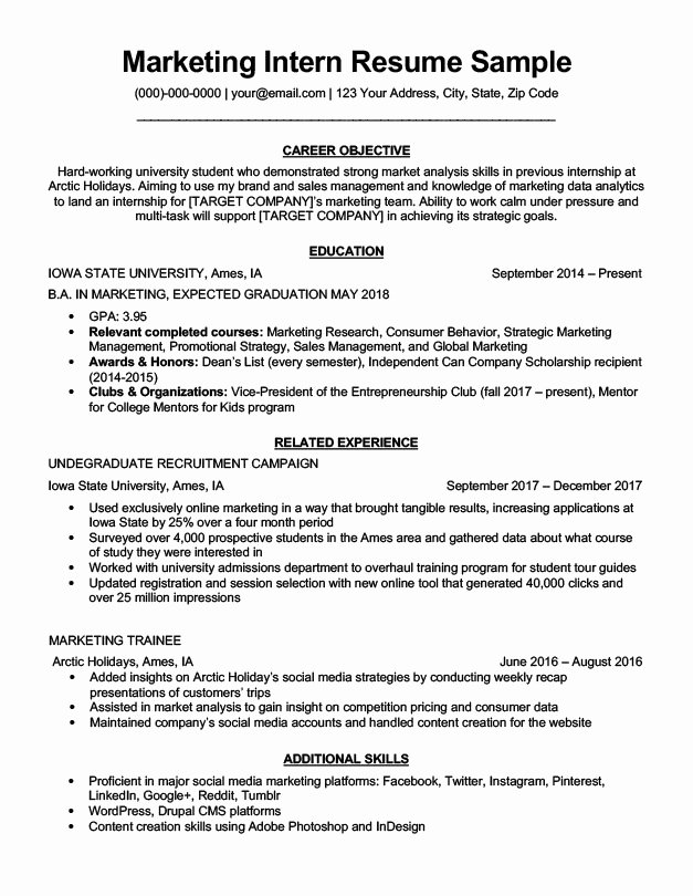 Marketing Intern Resume Sample & Writing Tips