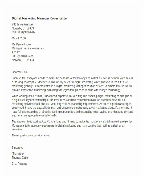 Marketing Manager Cover Letter Marketing Manager Cover