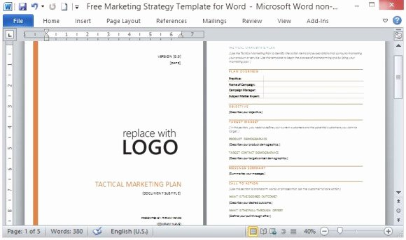 Marketing Plan Template Microsoft Word Free Marketing