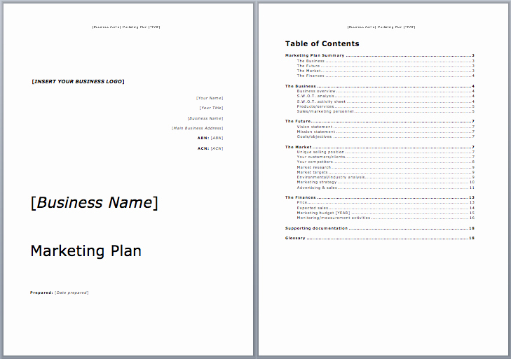 Marketing Plan Template Microsoft Word Templates