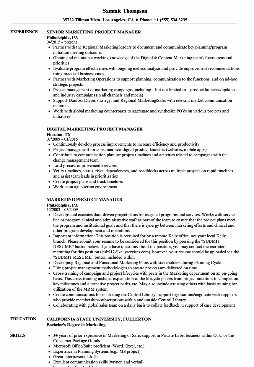 Marketing Project Manager Resume Samples