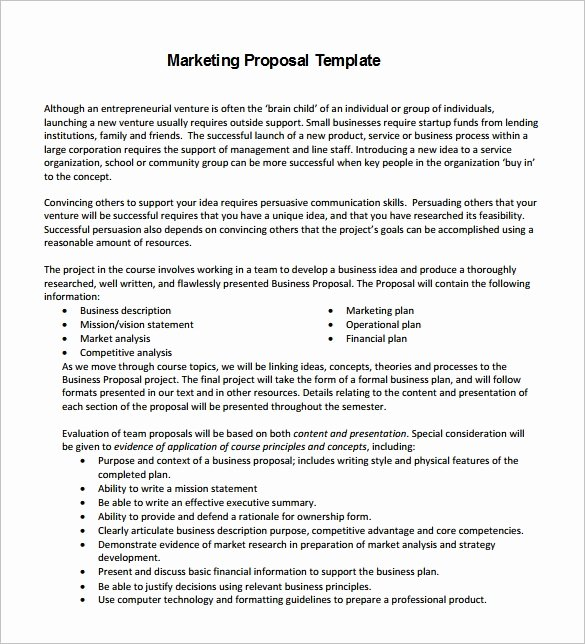 Marketing Proposal Template 28 Free Sample Example
