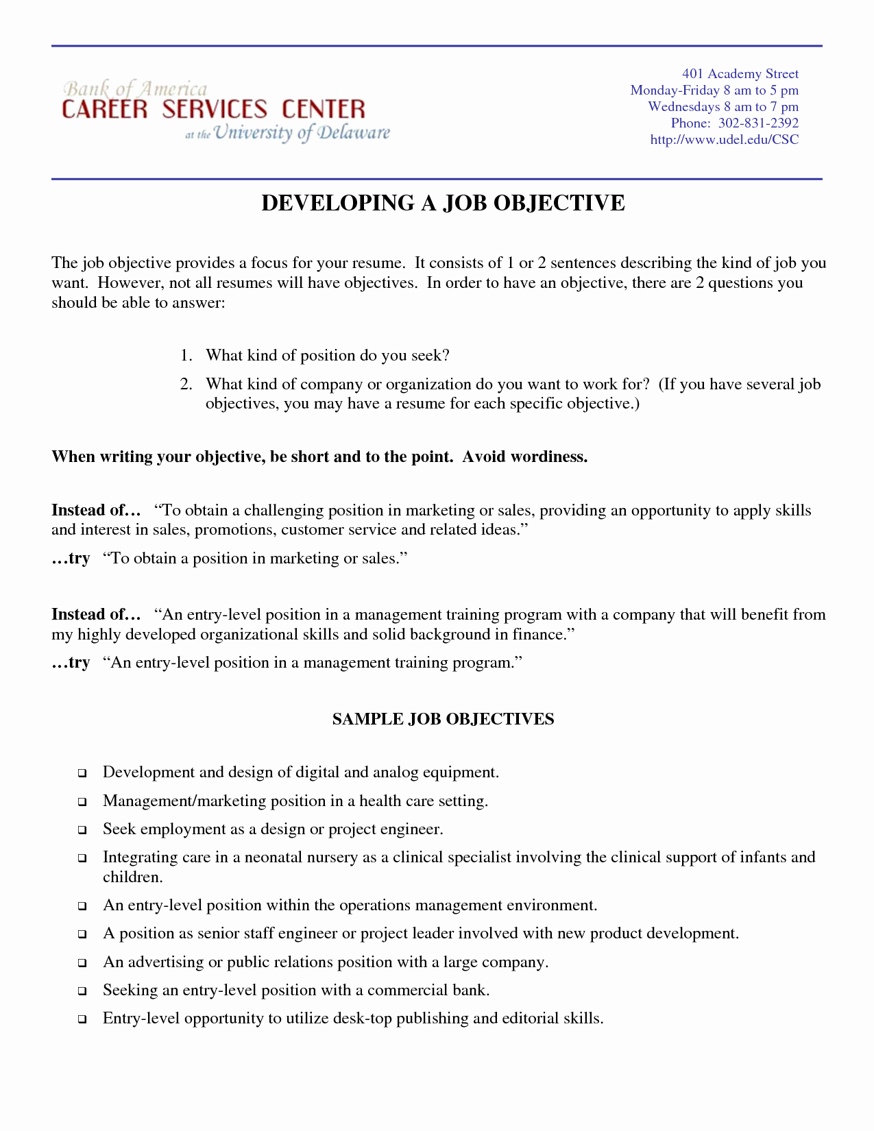 Marketing Resume Objective Samples