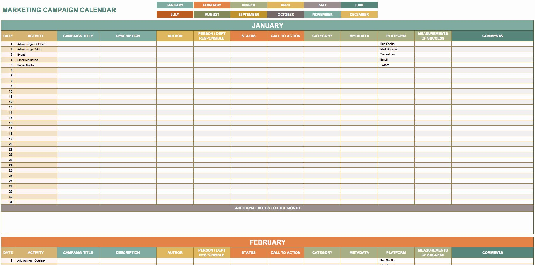 Marketing Spreadsheet Template Marketing Spreadsheet