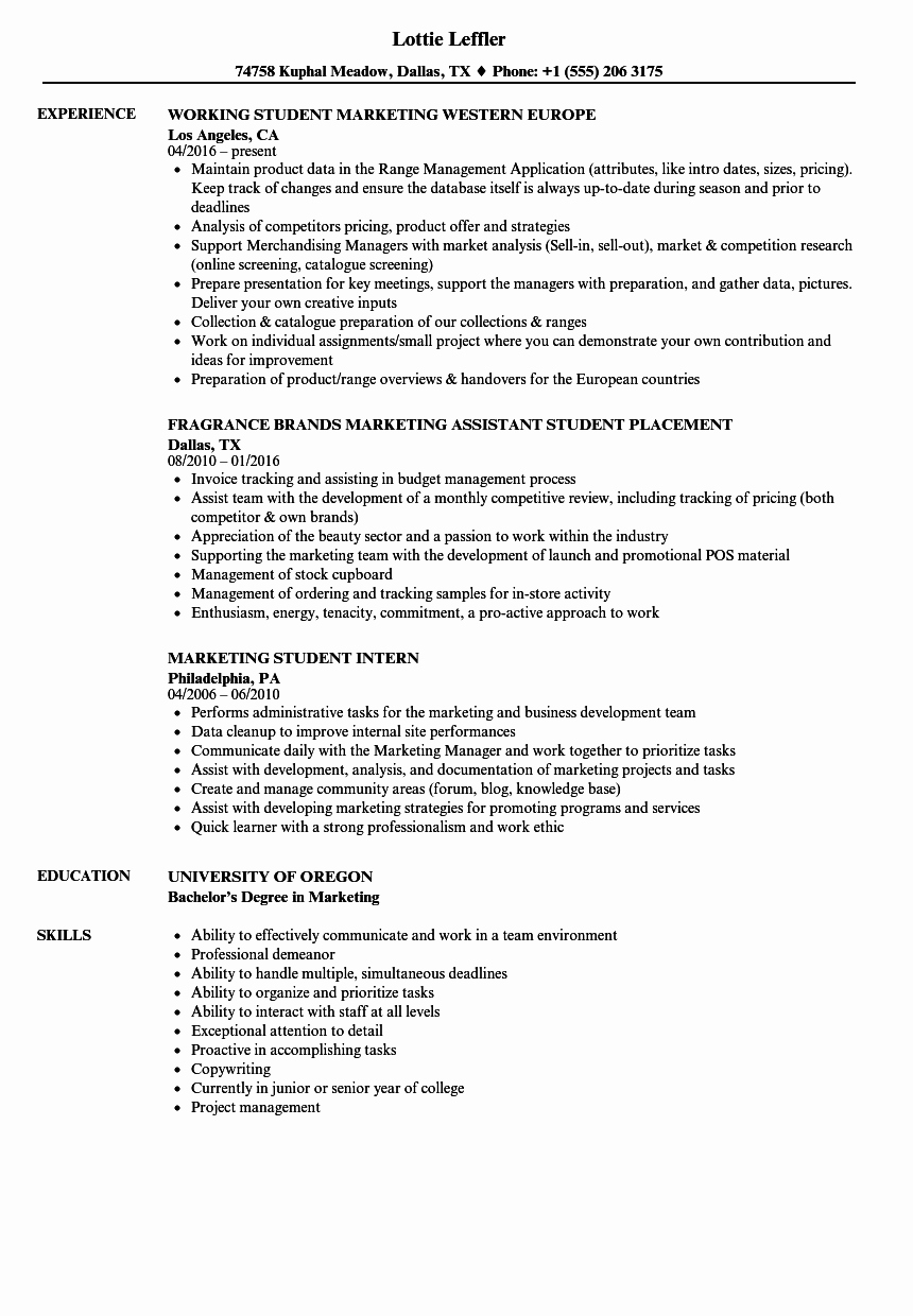 Marketing Student Resume Samples