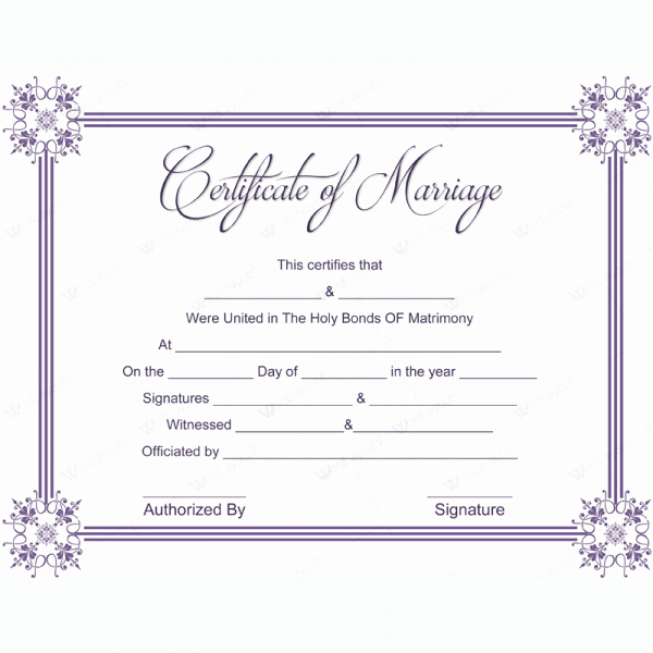 Marriage Certificate 03 Word Layouts