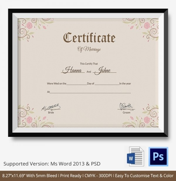 Marriage Certificate Template 12 Free Word Pdf Psd