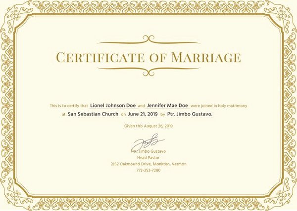 Marriage Certificate Template 12 Word Pdf Psd format