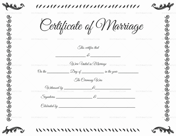 Marriage Certificate Template 22 Editable for Word