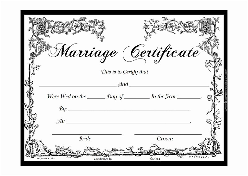 Marriage Certificate Template Pdf