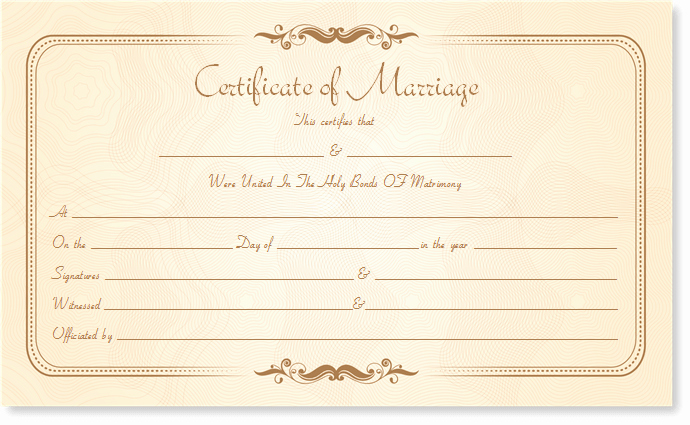 Marriage Certificate Template Write Your Own Certificate