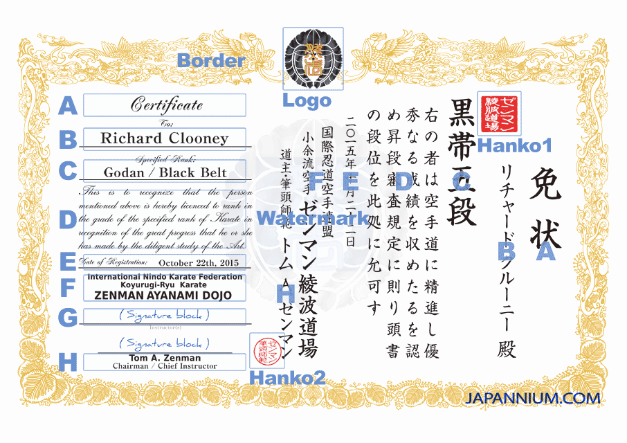 Martial Arts Certificate Custom Design Japannium
