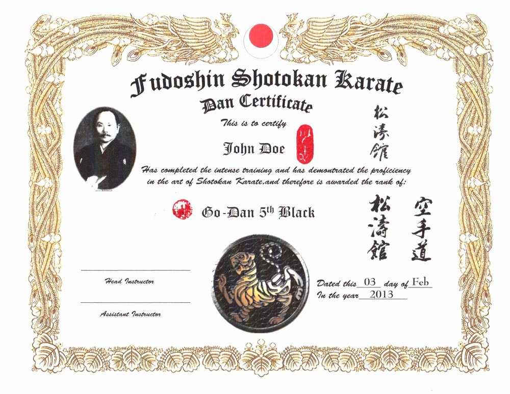 Martial Arts Certificate Templates Custom Martial Arts