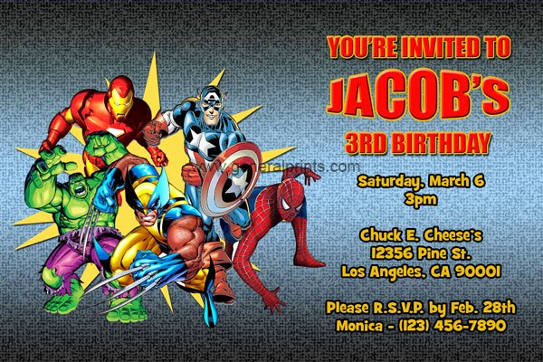 Marvel Superhero Invitations
