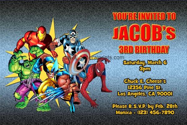 Marvel Superhero Invitations