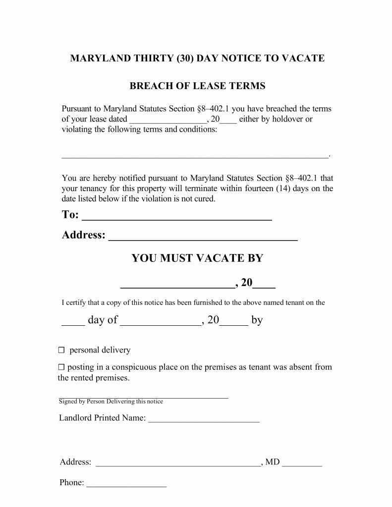 Maryland 30 Day Notice to Quit form