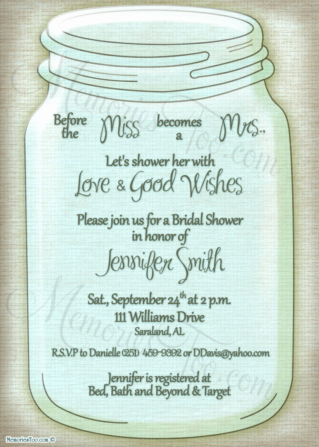 Mason Ball Jar Invitation Diy Printable Choose Your by