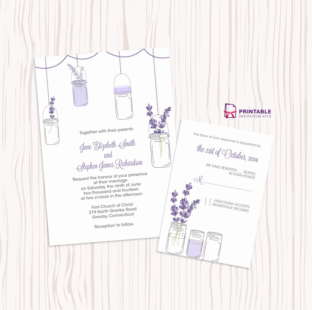 Mason Jar and Lavender Invitation and Rsvp Set ← Wedding