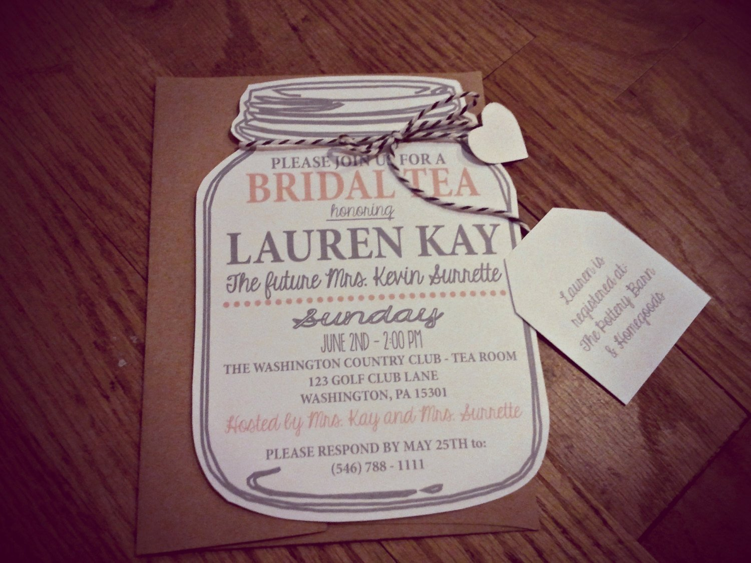 Mason Jar Bridal Tea Invitation Bridal Shower by Neillydesign