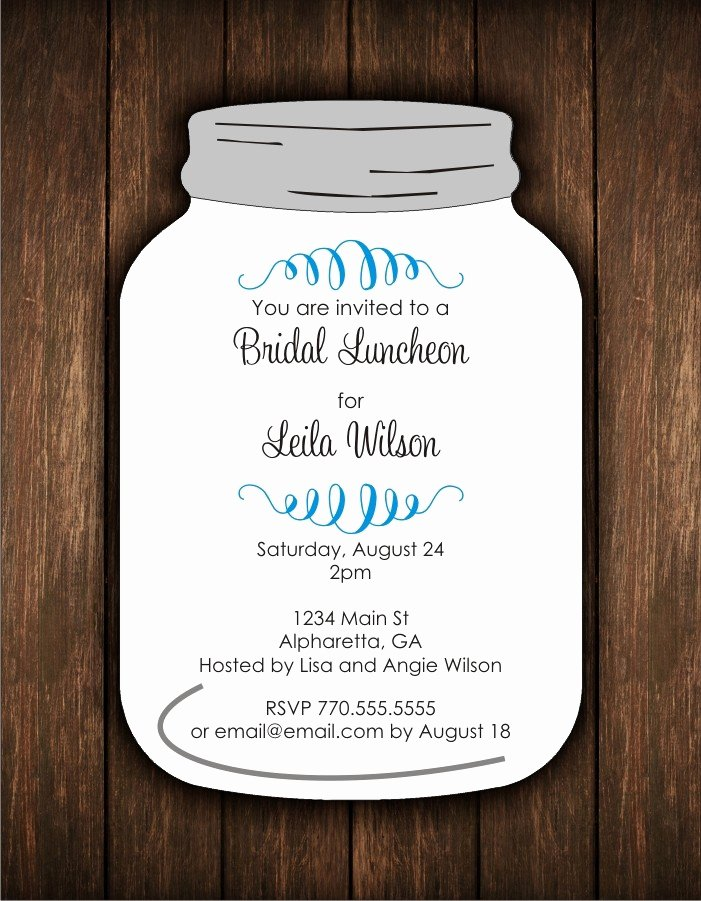 Mason Jar Die Cut Invitation Bridal Shower or Any