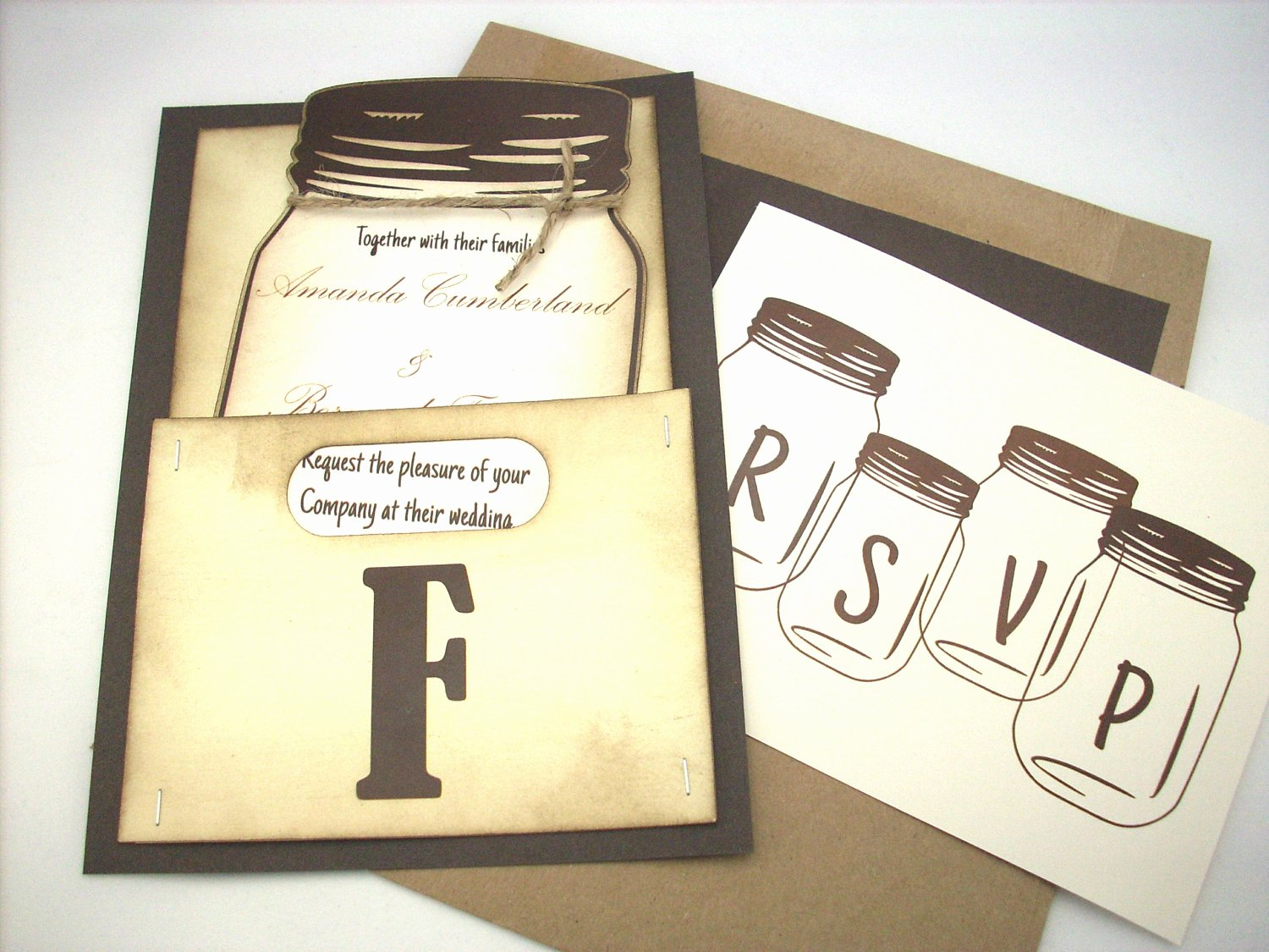 Mason Jar Wedding Invitation Personalized by Scrappingoodtimes